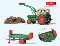 Preiser 17944 Deutz D 6206 traktor villás homlokrakodóval és utánfutóval (H0)