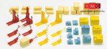 Preiser 79567 Dobozok, ládák, zsákok, raklapok kézi raklapemelőkkel (N)
