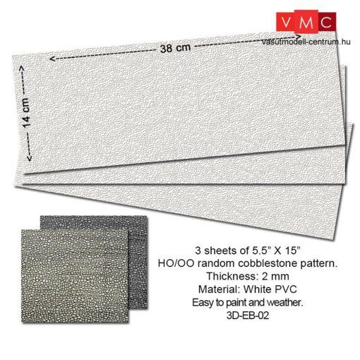 Proses 3D-EB-02 Járdalap, útburkolat (rendezetlen kockakő) PVC, 3 db, 14 X 34 cm, 2 mm vasta