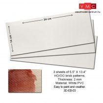 Proses 3D-EB-03 Embossed PVC Sheets (Brick Pattern) 3 pcs. 14X34 cm Thick.: 2mm
