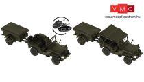 Roco 5045 Willys Jeep katonai terepjáró M100 ponyvás utánfutóval (H0) - US Army
