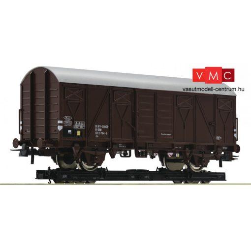 Roco 34575 Görgős rakfelületű teherkocsi (Rollwagen) (H0e), fedett teherkocsival, ÖBB (E4)