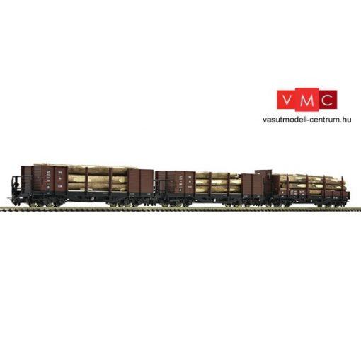 Roco 34609 Rakoncás teherkocsi-készlet, 3-részes négytengelyes rönkszállító teherkocsi,