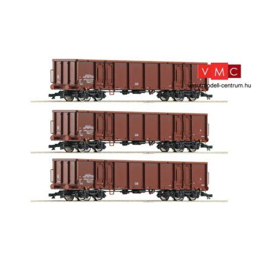 Roco 37640 Nyitott négytengelyes teherkocsi-készlet, 3-részes Eanos, DR (E4)