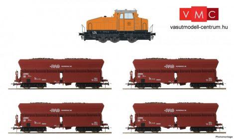 Roco 61466 Tehervonat készlet: DHG 500 dízelmozdony, 4 db négytengelyes önürítős teherko
