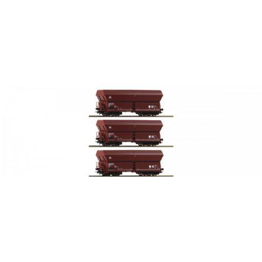 Roco 67082 Önürítős négytengelyes teherkocsi-készlet, 3-részes, DB (E4)