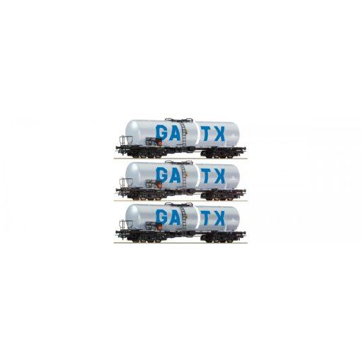 Roco 67136 Tartálykocsi-készlet (3-részes), négytengelyes GATX (E6)