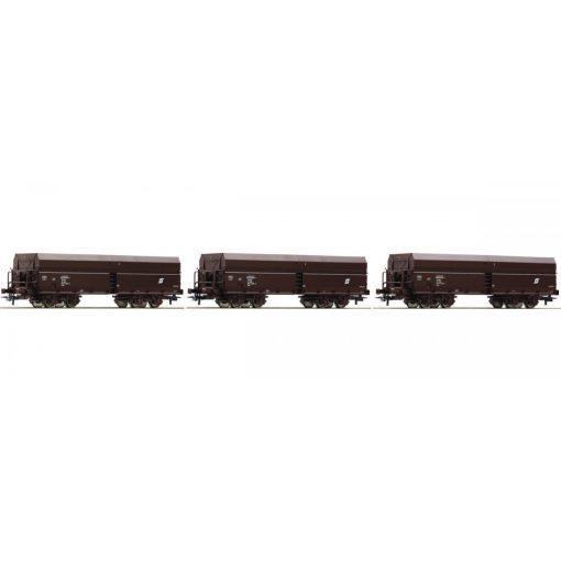 Roco 67177 Önürítős négytengelyes teherkocsi-készlet, 3-részes, ÖBB (E4)