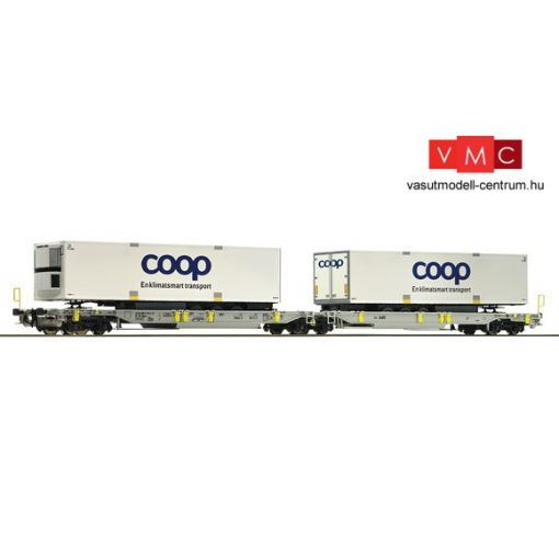 Roco 67385 Konténerszállító iker-teherkocsi, Sdggmrs(s) - T2000, DSB (E5-6), Coop