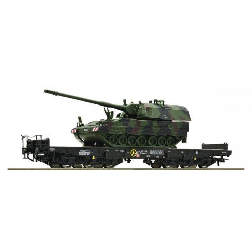 Roco 67574 Nehézteherszállító hattengelyes teherkocsi, DB-AG, Panzerhaubitze 2000 katonai j