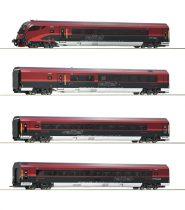 Roco 74083 Személykocsi-készlet vezérlőkocsival, 4-részes Railjet, ÖBB (E6) (H0)