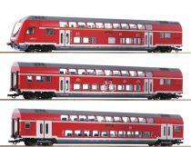 Roco 74150 Emeletes négytengelyes személykocsi-készlet vezérlőkocsival (3-részes), DB-AG