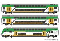 Roco 74160 Emeletes négytengelyes személykocsi készlet vezérlőkocsival, 3-részes, Koleje
