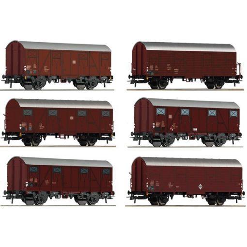 Roco 75952 12-tlg. Display: Gedeckte Gu?terwagen, DB