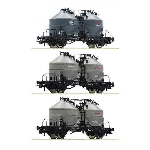 Roco 76093 Poranyagszállító silókocsi készlet, 3-részes Kds 54, DB (E3) (H0)