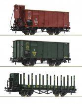 Roco 76094 Teherkocsi készlet, 3-részes, 2x fedett, 1 db rakoncás teherkocsi, K.Bay.Sts.B. (