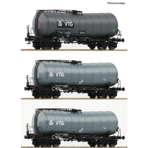 Roco 76126 Tartálykocsi készlet, 3-részes, négyzengelyes Zaes, VTG, DB-AG (E5-6)