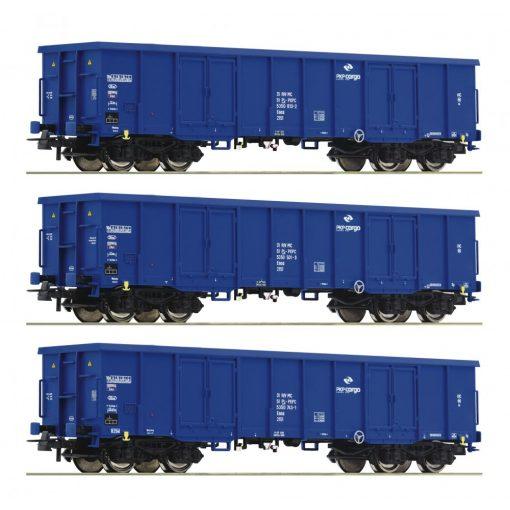 Roco 76128 Nyitott négytengelyes teherkocsi készlet, 3-részes Eaos, PKP (E6)