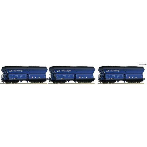 Roco 76130 Önürítős négytengelyes teherkocsi készlet, 3-részes Falns, szén rakománnyal