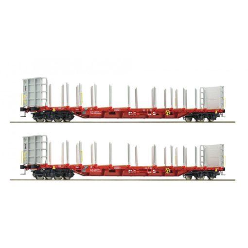 Roco 76141 Rakoncás négytengelyes rönkszállító teherkocsi-pár, RCA (E5-6)