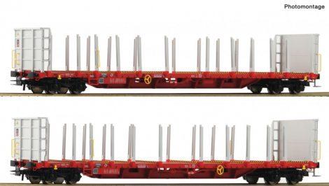Roco 76142 Rakoncás négytengelyes teherkocsi-pár, Rnoos-uz, Rail Cargo Wagon (E6)
