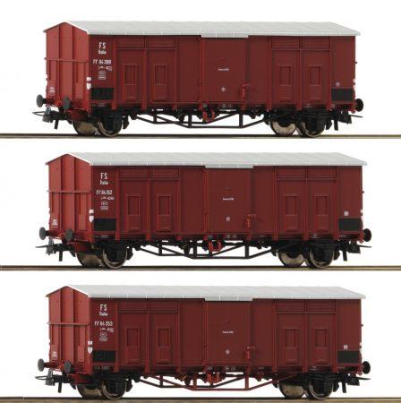 Roco 76163 Fedett sátortetős teherkocsi-készlet, 3-részes FS (E3)