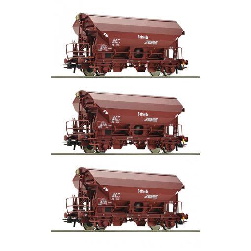 Roco 76174 Önürítős billenőtetős teherkocsi-készlet, 3-részes Tdgs, barna, DR (E4)