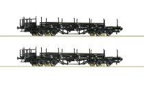 Roco 76196 Rakoncás négytengelyes sínszállító teherkocsi-pár, DR (E3)