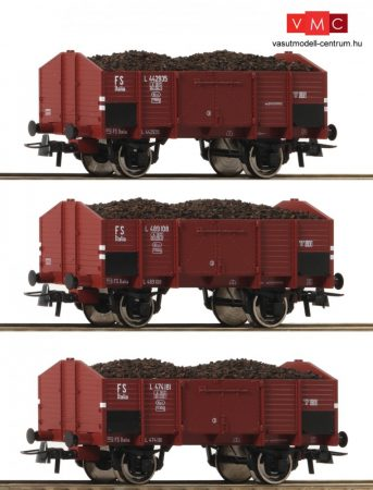 Roco 76199 Nyitott teherkocsi készlet, 3-részes Om, barnaszén rakománnyal, FS (E3)