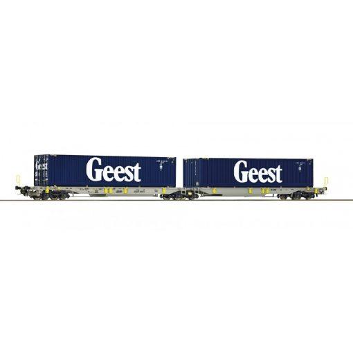 Roco 76418 Konténerszállító iker-zsebeskocsi, Sdggmrs25 - T2000, GEEST / AAE (E6)