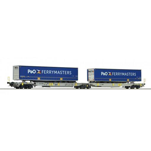 Roco 76420 Konténerszállító iker-teherkocsi, Sdggmrs25 - T2000, AAE (E6), P&O FERRYMASTERS