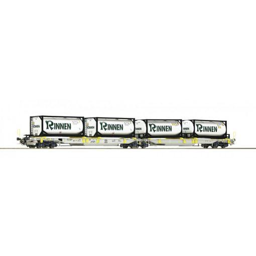 Roco 76427 Konténerszállító iker-zsebeskocsi, Sdggmrs25 - T2000, Rinnen / AAE (E6)