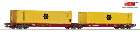 Roco 76630 Konténerszállító iker-teherkocsi, Sggmrs, 2 db 45 lábas konténerrel - MSC, DB-