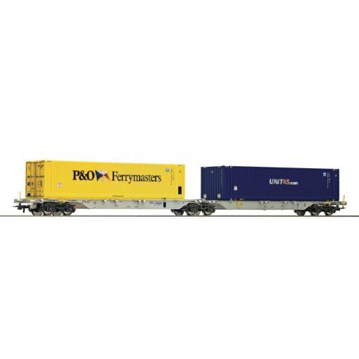 Roco 76640 Konténerszállító iker-teherkocsi, 2 db konténerrel - Unit45/P&O, AAE (E6)