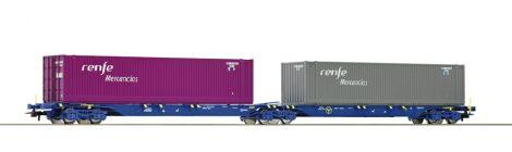 Roco 76641 Konténerszállító iker-teherkocsi, Sggmrs, 2 db konténerrel - Renfe (E6)