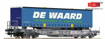 Roco 76754 Konténerszállító négytengelyes zsebeskocsi, Sgns, kamionfélpótkocsival - De W
