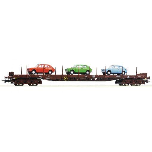Roco 76779 Rakoncás négytengelyes teherkocsi, Rs, 3 db Fiat 127 autóval, ÖBB (E4)