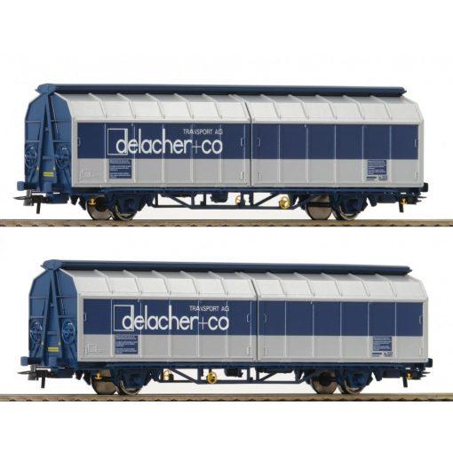 Roco 76877 Eltolható oldalfalú teherkocsi-pár, Himrrs, Delacher + Co (E6)