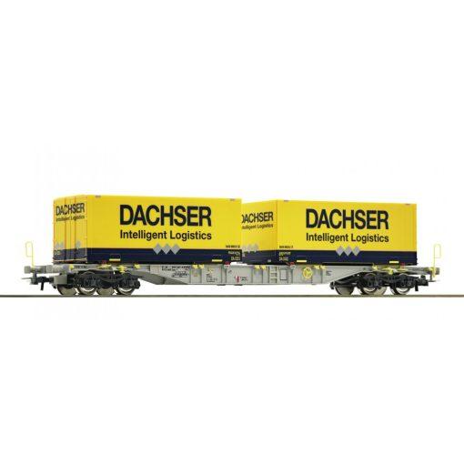 Roco 76921 Konténerszállító négytengelyes teherkocsi, Dachser, AAE (E6)