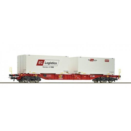 Roco 76933 Konténerszállító négytengelyes teherkocsi, 2 db 20 lábas konténerrel - EC Log