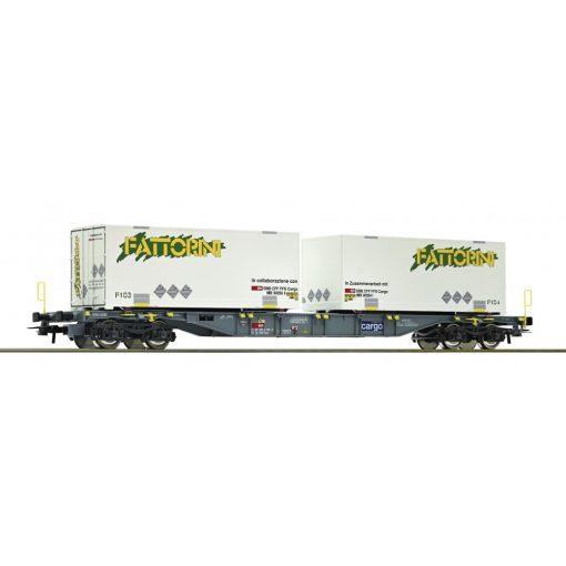 Roco 76934 Konténerszállító négytengelyes teherkocsi, 2 db cserefelépítménnyel - Fattor