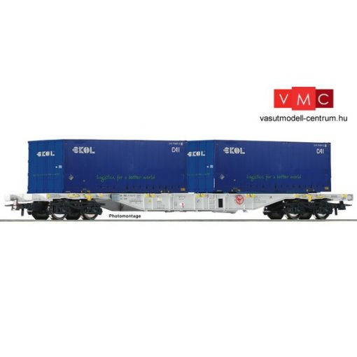 Roco 76947 Konténerszállító négytengelyes teherkocsi, Sgns, 2 db 20 lábas konténerrel -