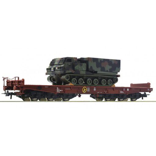 Roco 76954 Nehézteherszállító hattengelyes pőrekocsi, Salmmp, katonai járművel, FS (E5-6