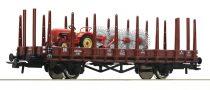 Roco 76988 Rakoncás teherkocsi R10, Porsche traktor Bautz BS4 szénaforgatóval (Busch), DB (E