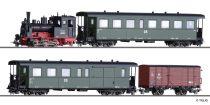 Tillig 1172 Személyvonat-készlet: BR 99.57 gőzmozdony, négytengelyes KB4i személykocsival és KBD4i poggyászkocsival + GW sorozatú fedett teherkocsi, DR (E3) (H0m)