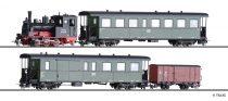 Tillig 1173 Személyvonat-készlet: BR 99.57 gőzmozdony, négytengelyes KB4i személykocsival és KBD4i poggyászkocsival + GW sorozatú fedett teherkocsi, DR (E3) (H0e)