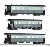 Tillig 1174 Személykocsi-készlet, 3-részes Harzer Roller, 2 db négytengelyes személykocsi + poggyászkocsi, DR (E4) (H0m)