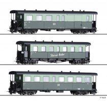 Tillig 1175 Személykocsi-készlet, 3-részes Harzer Roller, 2 db négytengelyes személykocsi + poggyászkocsi, DR (E4) (H0e)
