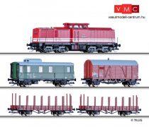 Tillig 1208 Digitális kezdőkészlet: BR 110 dízelmozdony tehervonattal, ovál pálya kitérővel, Uhlenbrock kézivezérlő, DR (E4)