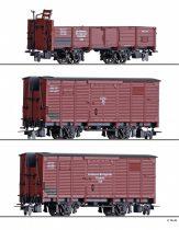 Tillig 1273 Tehervagon-készlet, 3-részes, 2 db fedett 1 db nyitott teherkocsi, NWE / GHE (E2) (H0m)